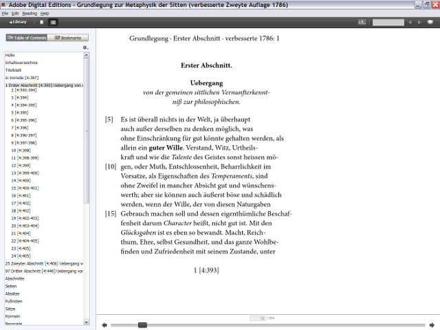 Screenshot of the fixed layout ebook version of the emended second edition of 1786