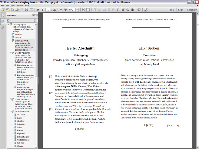 Screenshot of the PDF version of the dual-language emended second edition of 1786