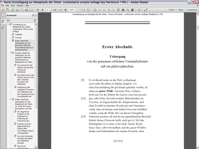 Screenshot of the PDF version of the emended second edition of 1786