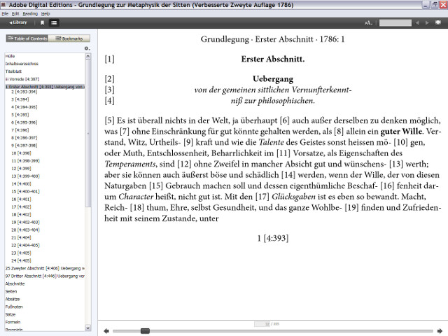 Screenshot of the reflowable ebook version of the emended second edition of 1786