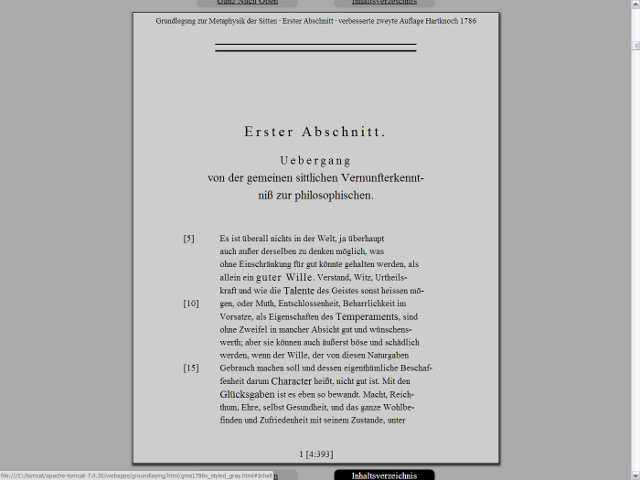 Screenshot of a CSS-styled HTMLversion of the emended second edition of 1786